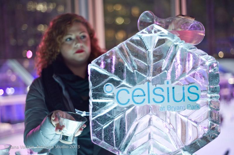 Celsius at Bryant Park - Ice sculpture drinks