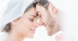 Romantic Wedding Photography the bride and groom foreheads together