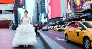 Wedding and fashion photography a bride in Times Square