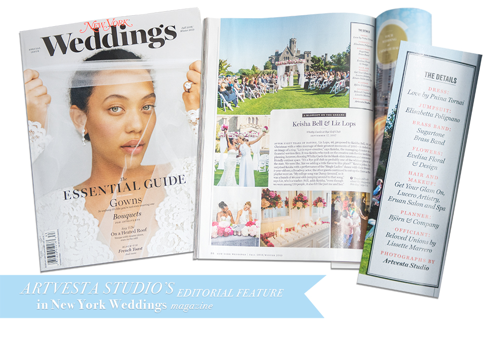 ArtVesta Studio's editorial feature in New York Weddings magazine 2018